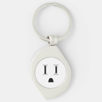 Funny Electrical Outlet (No Outline) Silver-Colored Swirl Metal Keychain
