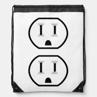 Funny Electrical Outlet (No Outline) Cinch Bag