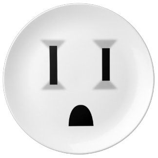 Funny Electrical Outlet (No Outline) Porcelain Plate