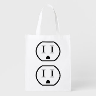 Funny Electrical Outlet (No Outline) Reusable Grocery Bag
