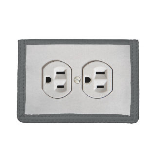 Funny Electrical Outlet Plugs Tri-fold Wallet