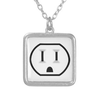 Funny Electrical Outlet Silver Plated Necklace
