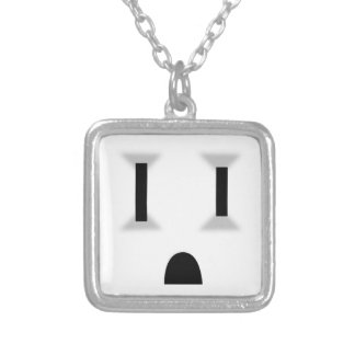 Funny Electrical Outlet Square Pendant Necklace