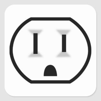 Funny Electrical Outlet Square Sticker