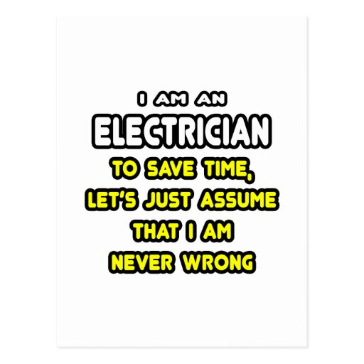 Funny Electrician T-Shirts and Gifts Postcard