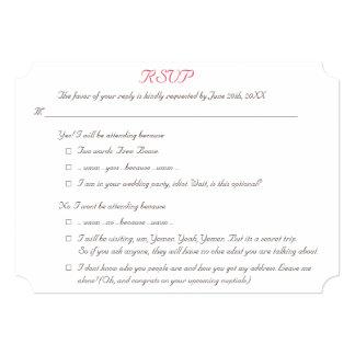 Funny Elegant Personalized Wedding RSVP Invitation