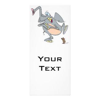 funny elephant afraid of mouse cartoon rack card