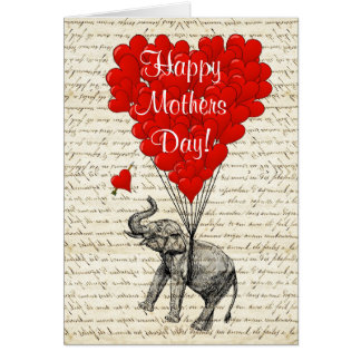 Funny elephant and love heart mothers day card