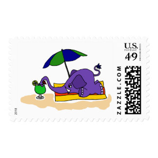 Funny Elephant at the Beach Stamps