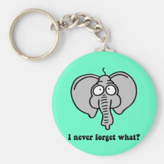 Funny elephant basic round button keychain
