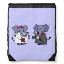 Funny Elephant Bride and Groom Wedding Art Drawstring Bag