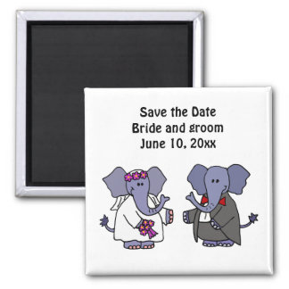 Funny Elephant Bride and Groom Wedding Art 2 Inch Square Magnet