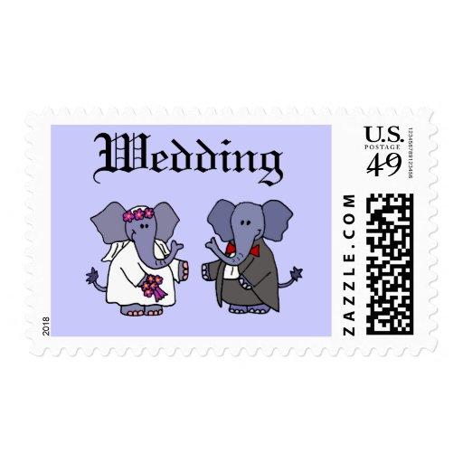 Funny Elephant Bride and Groom Wedding Art Postage