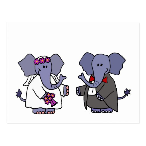 Funny Elephant Bride and Groom Wedding Design Postcard
