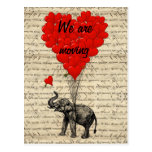 Funny elephant change of address card postcard