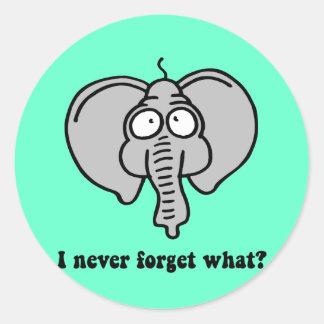 Funny elephant classic round sticker