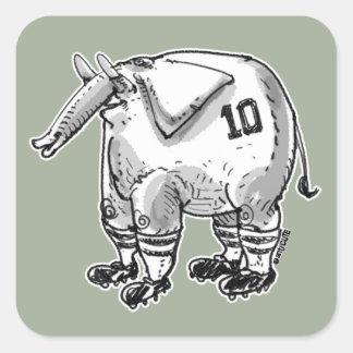 funny elephant figure cartoon style illustration square sticker