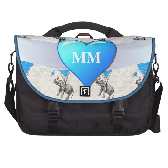 Funny  elephant & heart patern laptop commuter bag
