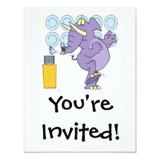 funny elephant in a china shop 4.25x5.5 paper invitation card