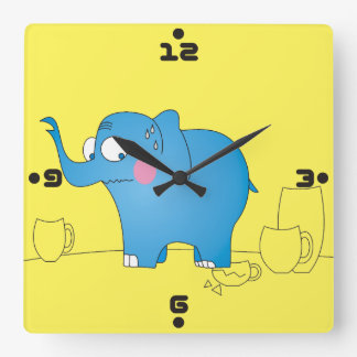 Funny Elephant in Porcelain Shop Joke Cartoons Square Wall Clock