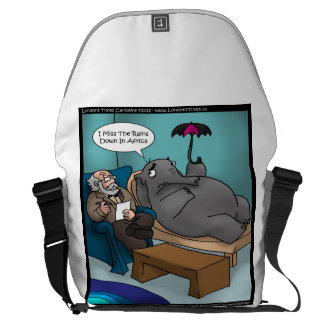 Funny Elephant In Therapy Large Messenger Bag