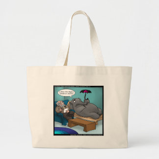 Funny Elephant In Therapy Large Tote Bag