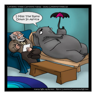 Funny Elephant In Therapy Poster