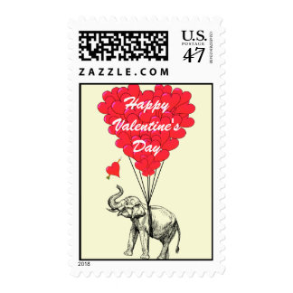 Funny elephant love heart Valentine's Postage