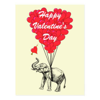 Funny elephant love heart Valentines Post Cards