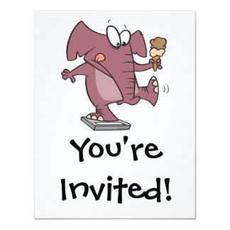 funny elephant on scale with ice cream card