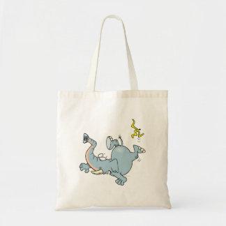 funny elephant slipping on banana peel canvas bags