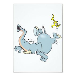 funny elephant slipping on banana peel 5x7 paper invitation card
