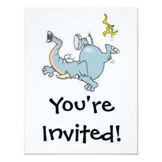 funny elephant slipping on banana peel 4.25x5.5 paper invitation card