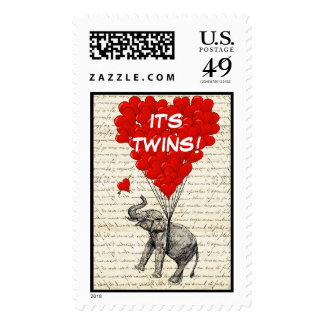 Funny elephant twins baby announcement stamp