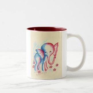 Funny Elephant Two-Tone Coffee Mug