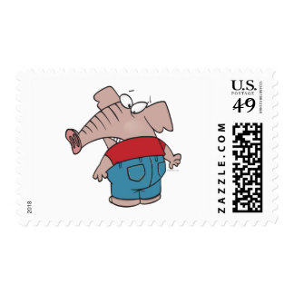 funny elephant wearing tight jeans postage stamp