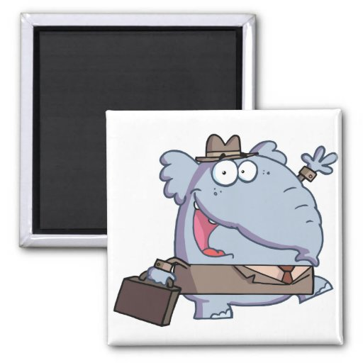 Funny-Elephant-with-briefcase 2 Inch Square Magnet
