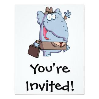 funny elephant with briefcase cartoon card