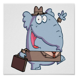 funny elephant with briefcase cartoon poster