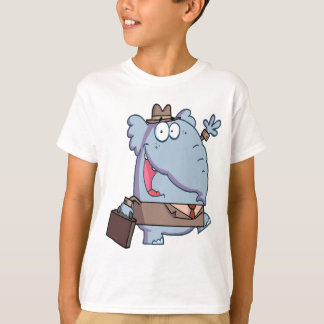 funny elephant with briefcase cartoon T-Shirt