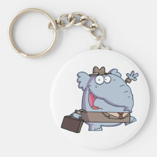 Funny-Elephant-with-briefcase Basic Round Button Keychain