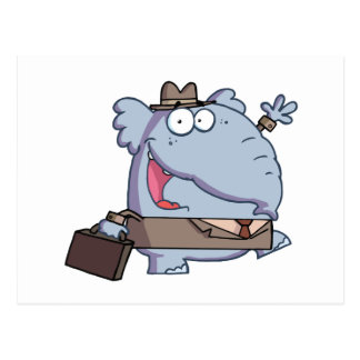 Funny-Elephant-with-briefcase Postcard