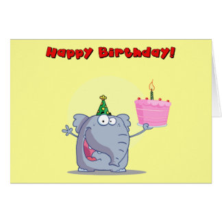 Funny Elephant With Cake Happy Birthday Card