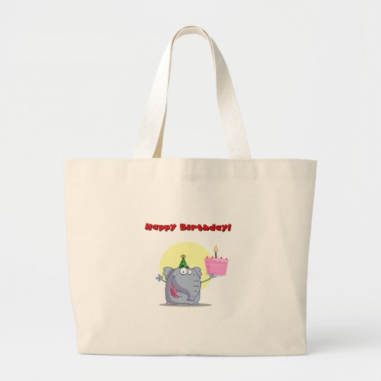 Funny Elephant With Cake Happy Birthday Large Tote Bag