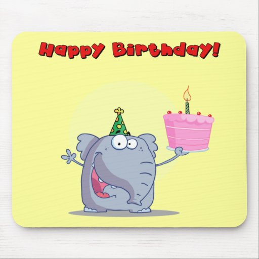 Funny Elephant With Cake Happy Birthday Mouse Pad