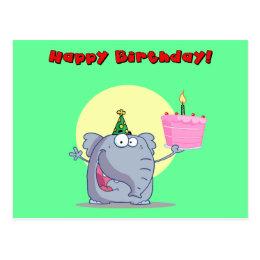 Funny Elephant With Cake Happy Birthday Postcard