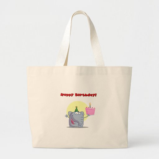 Funny Elephant With Cake Happy Birthday Tote Bags