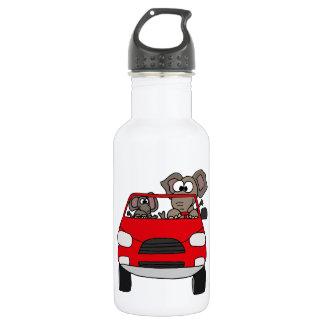 Funny Elephants in Red Car 18oz Water Bottle