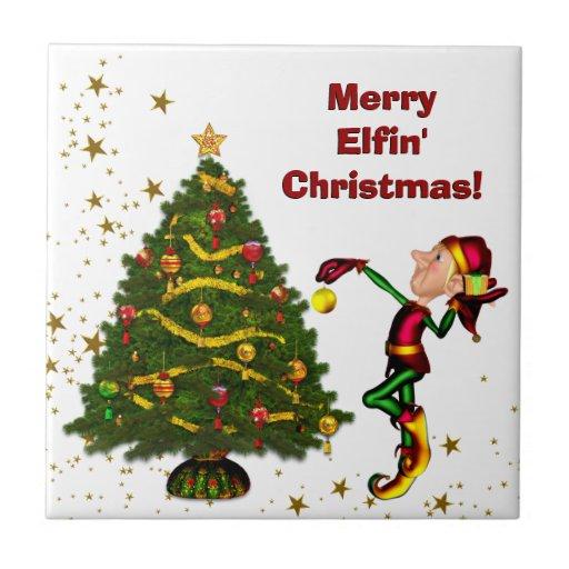 Funny Elf Christmas Coasters Ceramic Tile