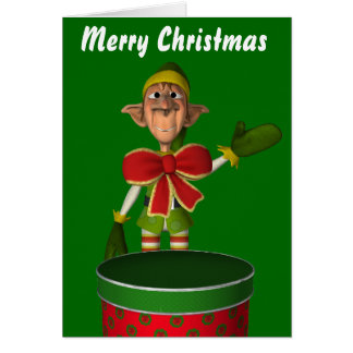 Funny elf with bow and cake tin card